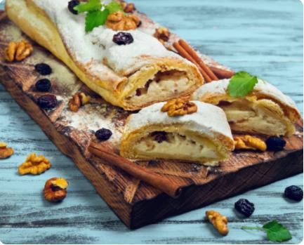 Image Prăjitură cu răvașe, cu brânză dulce și stafide