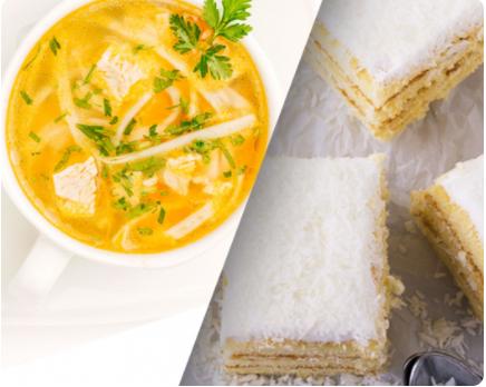 Image Supă cu tăieței de casă și prăjitură Albă-ca-zăpada