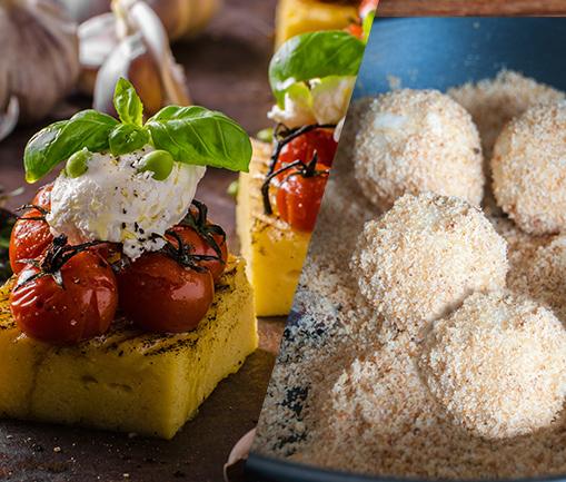 Image Cubulețe de mămăliguță cu brânză și roșii și găluște cu prune