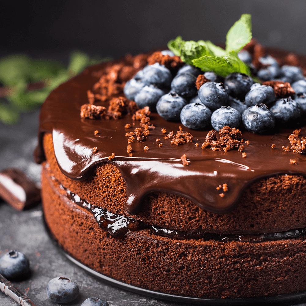 Image Tort cu ciocolată și afine